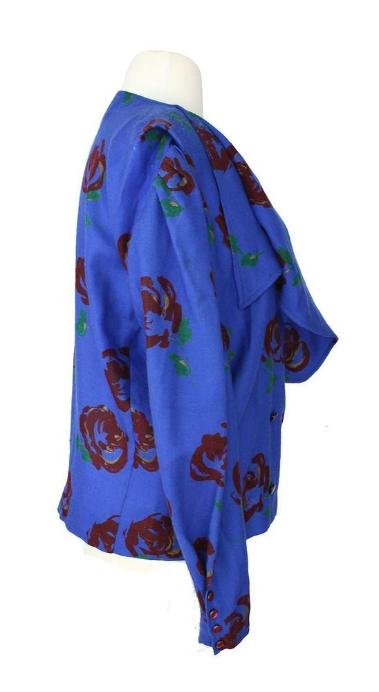 Vintage Ungaro 1970s Blue Floral Blazer