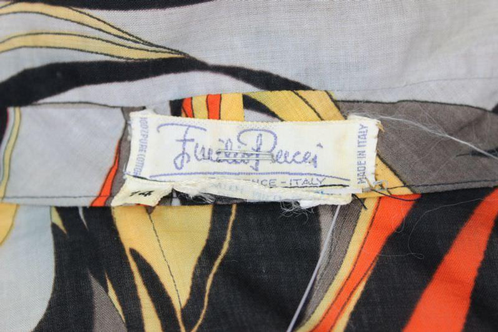 Emilio Pucci Orange & Gray Abstract Cotton Shirt  1