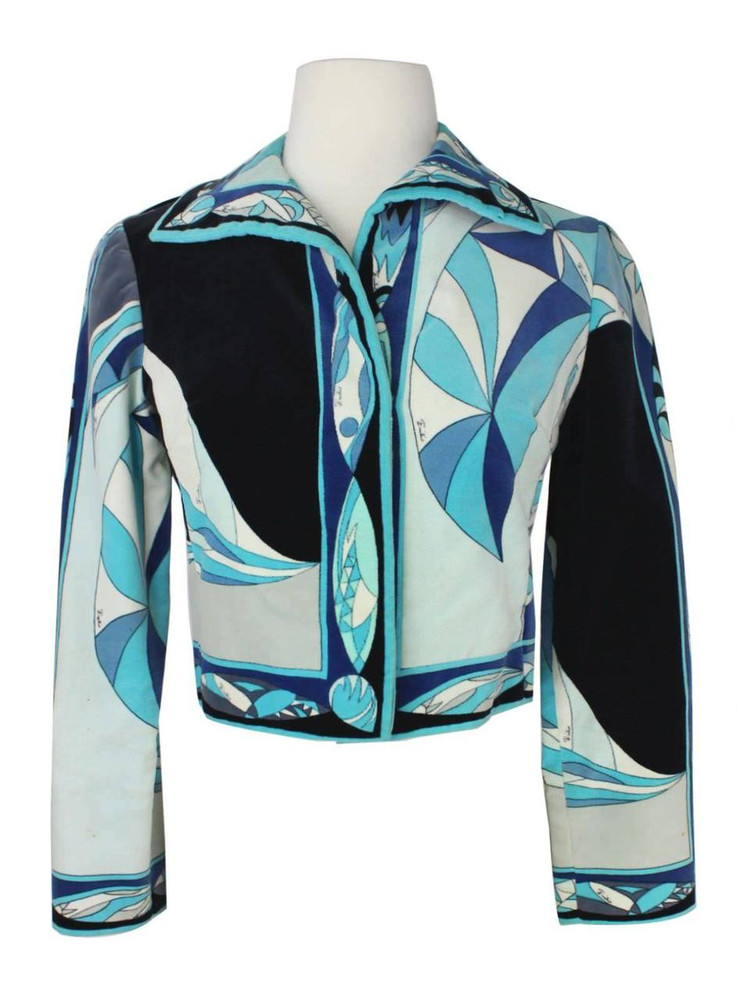Emilio Pucci Blue & Black Geometric Velvet Cropped Jacket 1