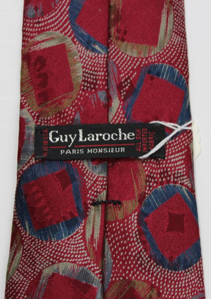 Vintage Guy Laroche Red Abstract Print Tie