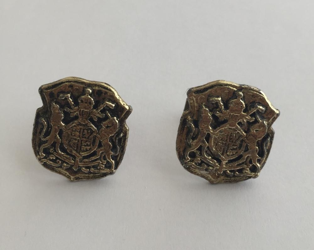 Vintage Gold Tone Oversized Mythological Crest Cufflinks
