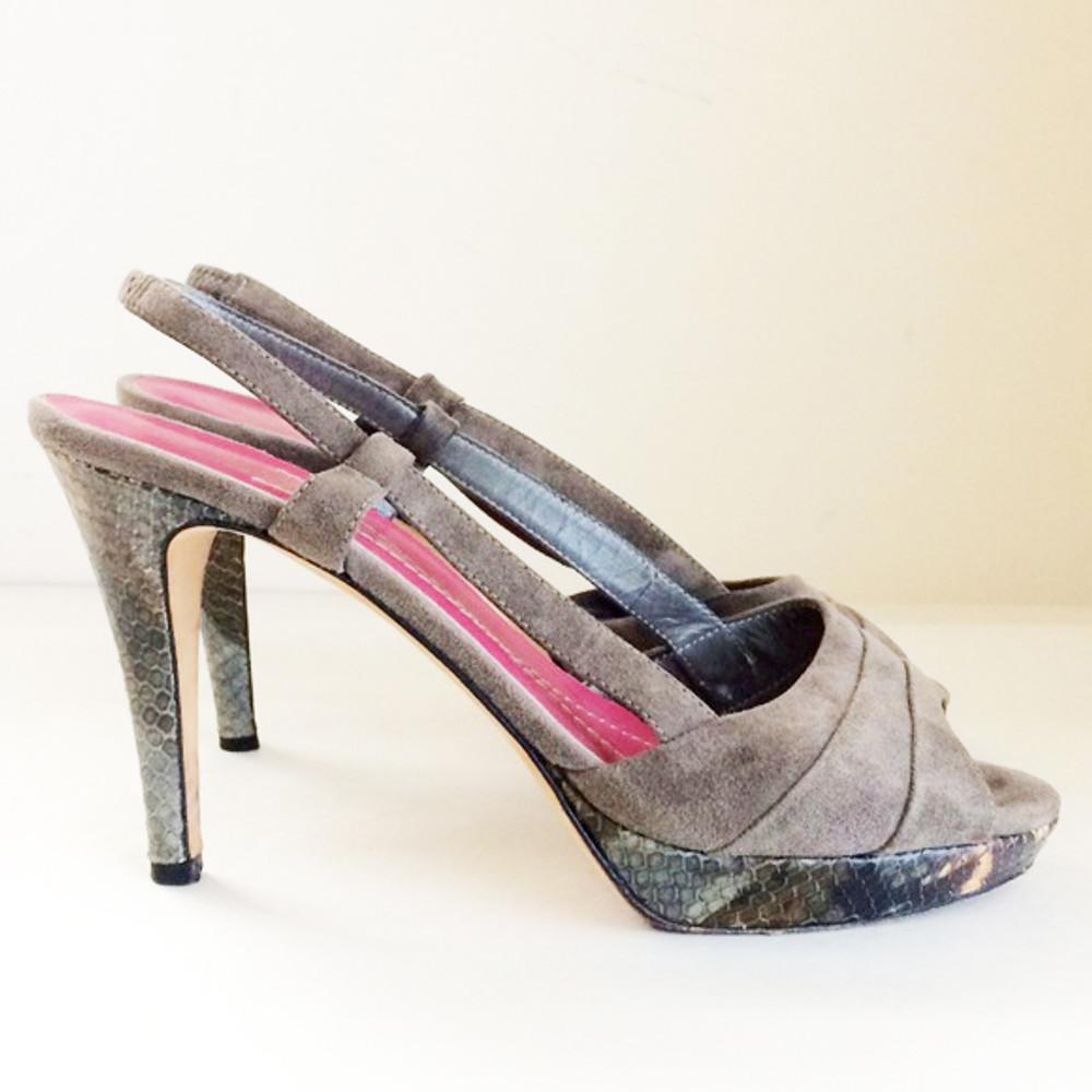 Kate Spade Gray Suede & Snake Skin Platform Heels