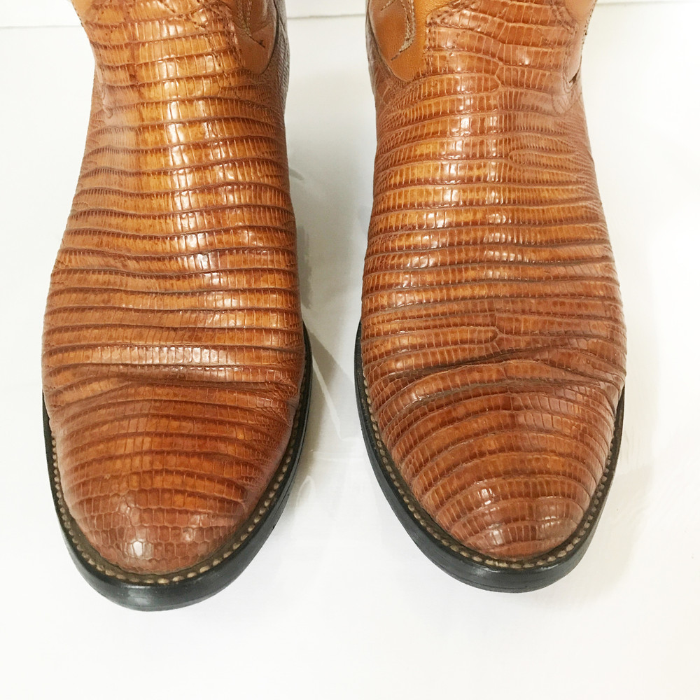 Vintage Dan Post Lizard Tan Cowboy Boots