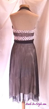 Laundry Black & Pink 1950s Style Halter Cocktail Dress