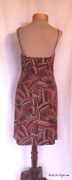 Laundry by Shelli Segal Brown Polka Dotted Jersey Dress with Plunging Neckline