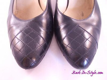 Ferragamo Black Slingbacks with Quilted Toe