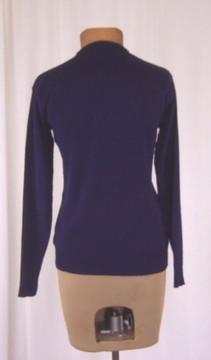 Vintage Navy Cardigan Sweater with White Beading