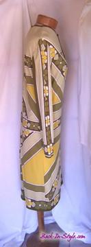 Vintage Paganne Green Retro Floral Jersey Dress
