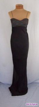 Robert Danes Black Satin Dress with Woven Bust