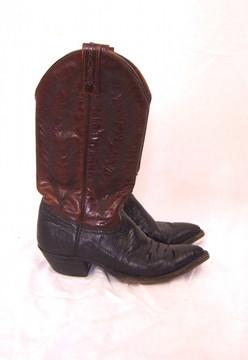 J. Crisholm Brown Leather & Black Snake Skin Cowboy Boots