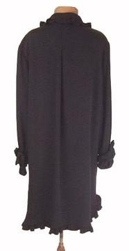 Vintage Bill Blass 1970s Black Silk Tuxedo Ruffle Dress