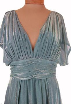 Vintage Estevez 1970s Sage Green & Gold Glitter Evening Dress