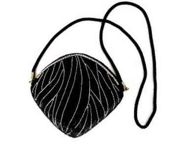 Black & Silver Beaded Cross Body Bag