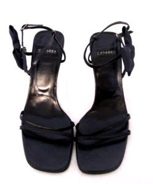 Casadei Black Strappy Heels with Bow Detail