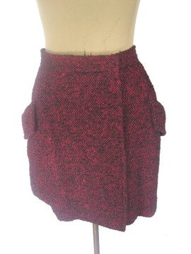 Vintage Yves Saint Laurent Black and Red Tweed Skirt with Pockets