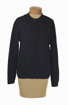 Vintage 1950's Black Beaded Cardigan Sweater