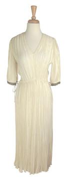 Vintage Mary McFadden Cream Grecian Fortuny Pleat Dress