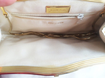 Judith Leiber Cream Snake Skin Clutch with Gold Embellished Clasp