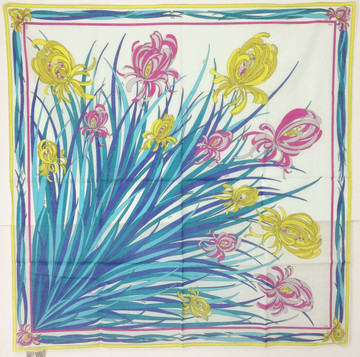 Vintage Emilio Pucci Pink, Yellow & Blue Cotton Iris Scarf