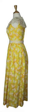 Vintage Lilly Pulitzer 1970s Yellow Butterfly Maxi Dress with Appliques