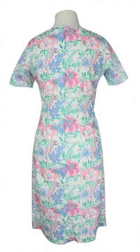 Vintage Lilly Pulitzer Cotton Floral Dress with White Lace Applique