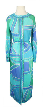 Vintage Emilio Pucci for Formfit Rogers 1960s Blue & Mint Green Drawstring Robe