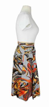 Emilio Pucci Orange & Gray Abstract Cotton Skirt  1