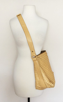 Bottega Veneta Beige Woven Convertible Cross Body/ Shoulder Bag
