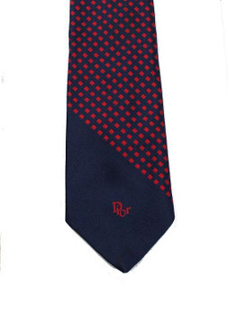 Vintage Christian Dior Red Squares Logo Tie