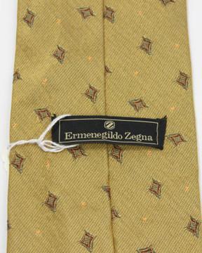 Ermenegildo Zegna Yellow Brocade Wide Tie