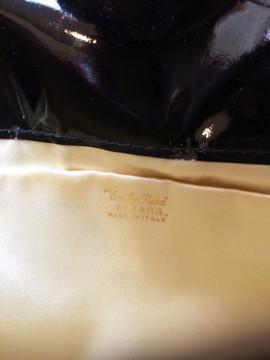 Vintage Emilio Pucci Silk Clutch With Black Patent Leahter Trim