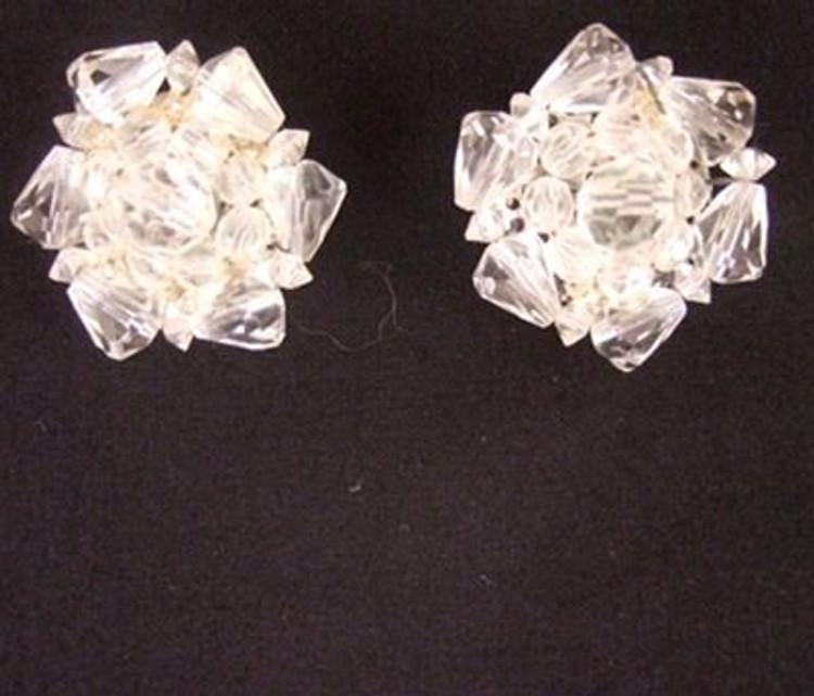 Vintage 1950s large round crystal cluster ear clips