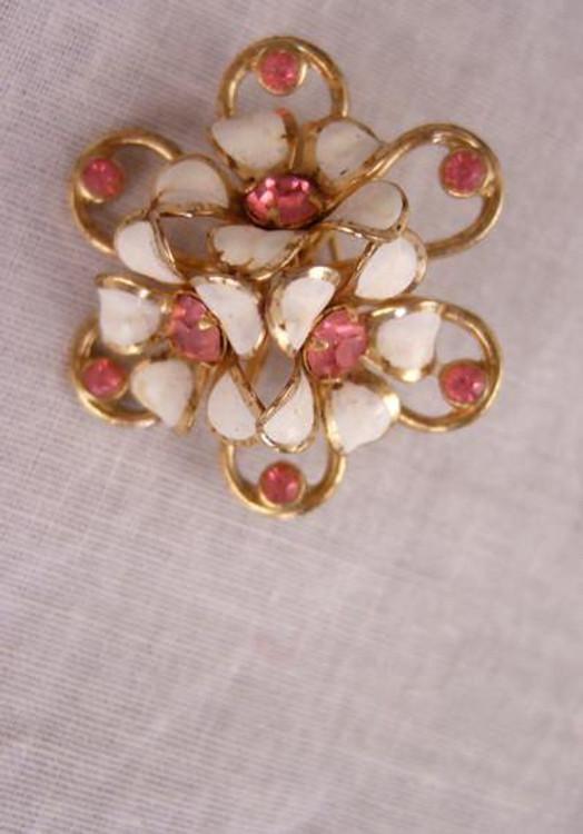 Coro Pink and White Rhinestone Pin