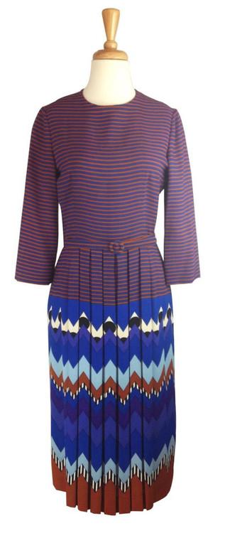 Lanvin Vintage Tribal Print Silk Crepe Dress