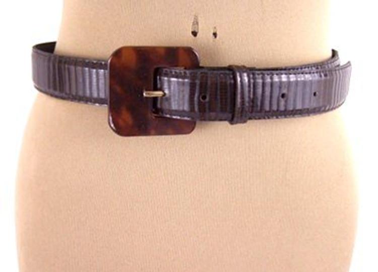 Brown Lizard Belt with Faux Tortoise Buckle
