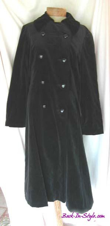 Black Velvet Double Breasted Coat