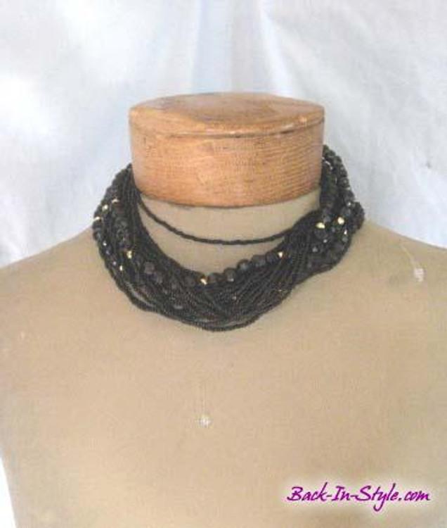 Black & gold multi strand beaded necklace