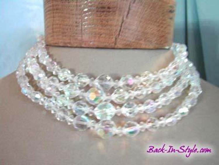1950s Quadruple Strand Crystal Necklace