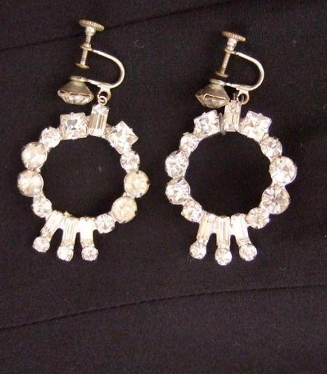 Vintage Rhinestone Dangle Ear Clips