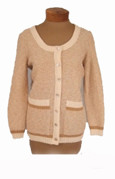 Goldworm Tan & White Boyfriend Cardigan Sweater