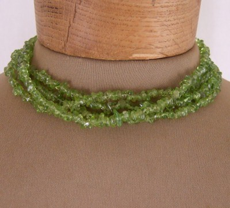 Green multi strand cut glass necklace with sterling silver clasp