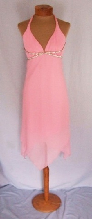 ABS Pink Chiffon Halter Rhinestone Dress NEW!