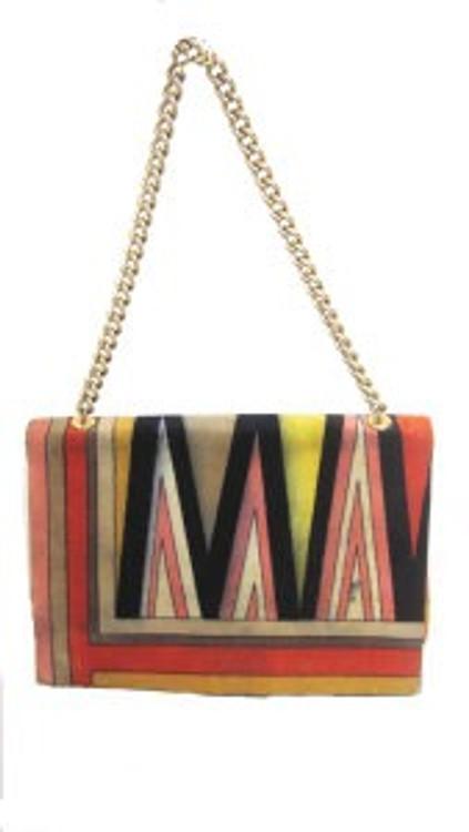 Emilio Pucci Vintage Velvet Handbag with Gold Chain Strap