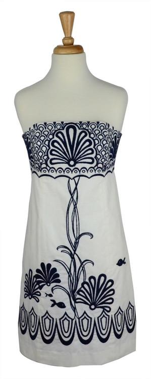 Lilly Pulitzer Strapless Navy & White Dress