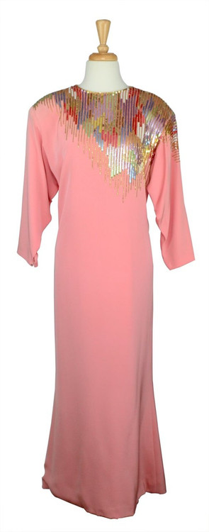 Vintage Oscar De La Renta Peach Sequined Dress