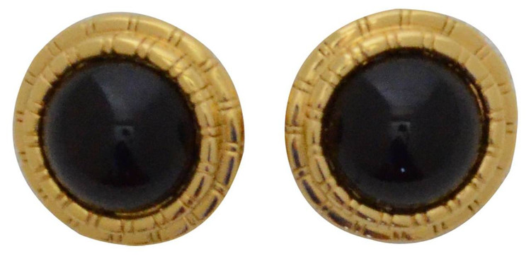 St. John Circle Gold Tone Enamel Earrings