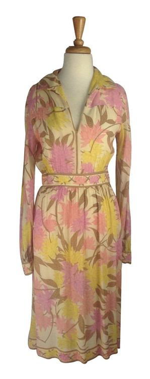 Emilio Pucci Vintage Pink Floral Chiffon Cocktail Dress 1