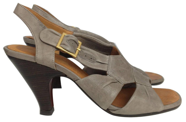 Chie Mihara Gray Stacked Heel Sandals