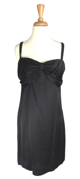 Vintage Bill Blass Black Satin Bow Cocktail Dress