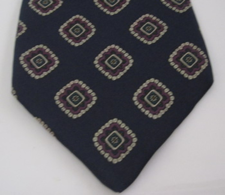 Brooks Brothers Navy Blue with Purple Squares Tie